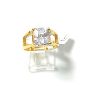 Women's Clear Solitaire CZ 50MILS Gold Band Ring